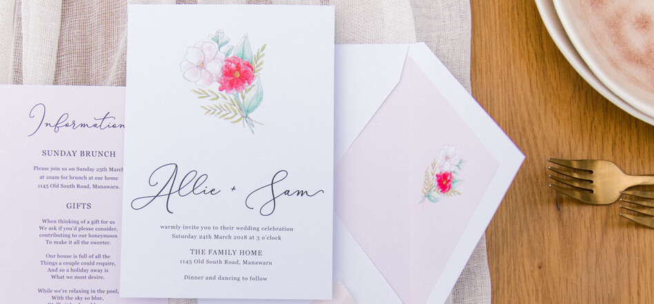 Wedding invitations by Creative Box, New Zealand. Photography by Sweet Events Photography