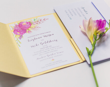Tailor made wedding invitations by Creative Box, New Zealand